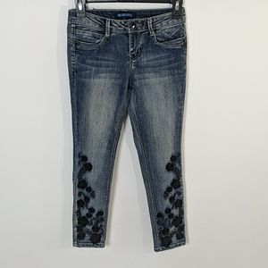 Blue Spice Girl's Embroidered Skinny Jeans 10